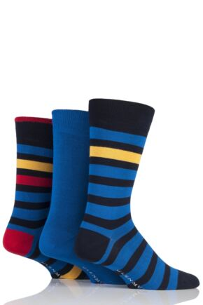 Mens 3 Pair Glenmuir Block Stripe and Plain Bamboo Socks Navy 7-11 Mens