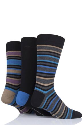 Mens 3 Pair Glenmuir Stripes Bamboo Socks