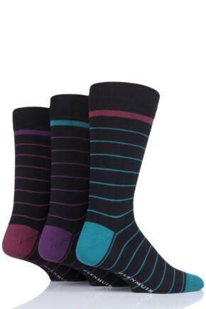 Mens 3 Pair Glenmuir Fine Stripes Bamboo Socks
