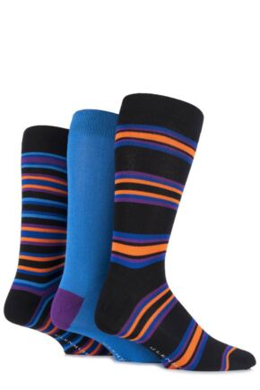 Mens 3 Pair Glenmuir Bamboo Plain and Varied Striped Socks Black 7-11