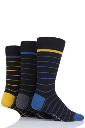 Mens 3 Pair Glenmuir Fine Stripes Bamboo Socks