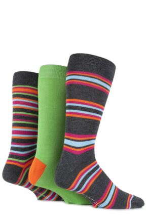 Mens 3 Pair Glenmuir Bamboo Plain and Varied Striped Socks Grey 7-11