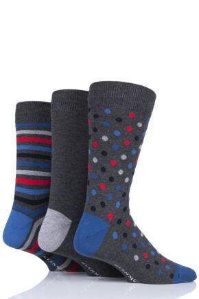 Mens 3 Pair Glenmuir Dots and Stripes Bamboo Socks