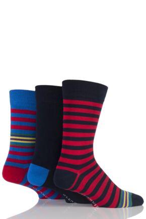 Mens 3 Pair Glenmuir Block Striped and Plain Bamboo Socks