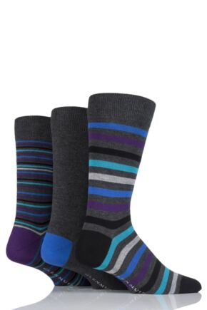 Mens 3 Pair Glenmuir Mixed Stripe Bamboo Socks