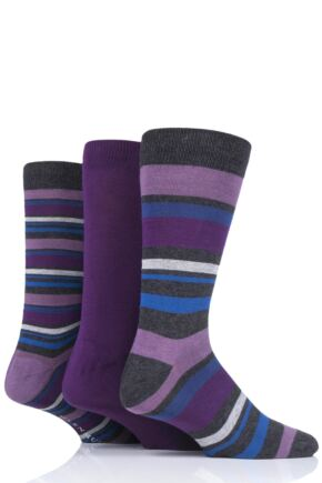Mens 3 Pair Glenmuir Multi Stripe Bamboo Socks