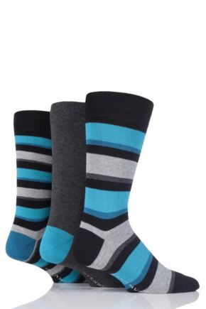 Mens 3 Pair Glenmuir Stripe and Plain Bamboo Socks Black 6-11 Mens