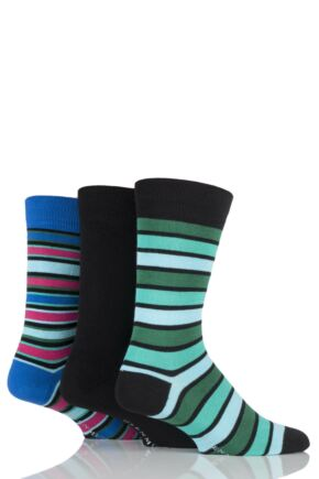 Mens 3 Pair Glenmuir Plain and Mixed Striped Bamboo Socks Black 7-11