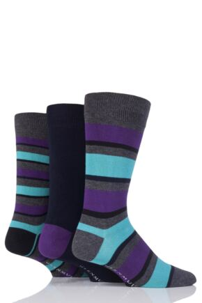 Mens 3 Pair Glenmuir Stripe and Plain Bamboo Socks Grey 6-11 Mens
