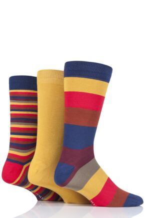 Mens 3 Pair Glenmuir Mixed Stripe Bamboo Socks Navy 6-11 Mens