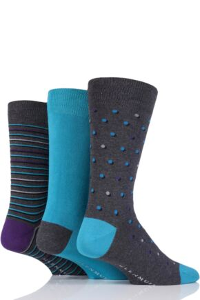 Mens 3 Pair Glenmuir Spots Stripe and Plain Bamboo Socks Charcoal 6-11 Mens
