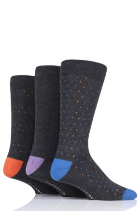 Mens 3 Pair Glenmuir Pin Dot Bamboo Socks