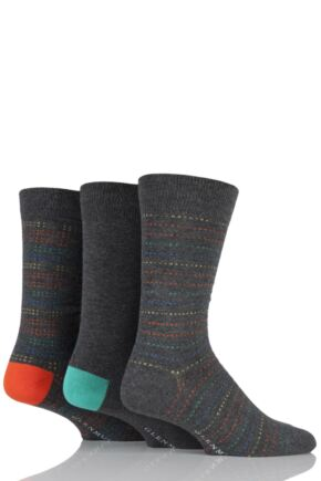 Mens 3 Pair Glenmuir Plain and Dotted Striped Bamboo Socks
