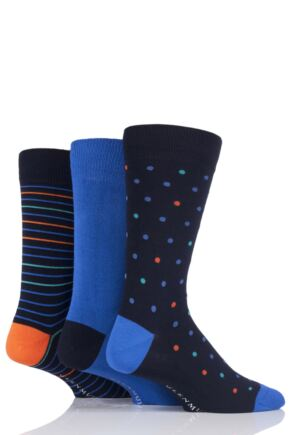 Mens 3 Pair Glenmuir Spots Stripe and Plain Bamboo Socks
