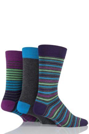 Mens 3 Pair Glenmuir Plain and Multi Coloured Striped Bamboo Socks