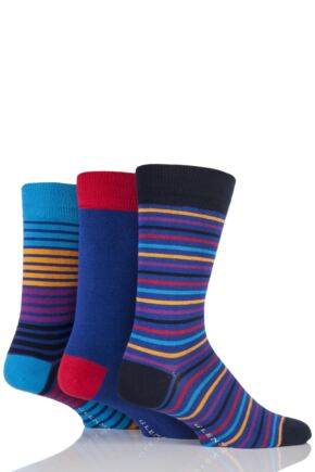 Mens 3 Pair Glenmuir Plain and Multi Coloured Striped Bamboo Socks
