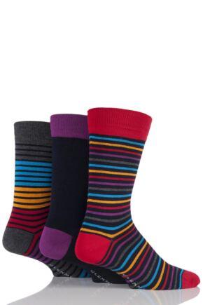 Mens 3 Pair Glenmuir Plain and Multi Coloured Striped Bamboo Socks Navy 7-11