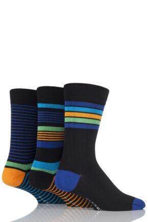 Mens 3 Pair Glenmuir Varied Striped Bamboo Socks Black 7-11