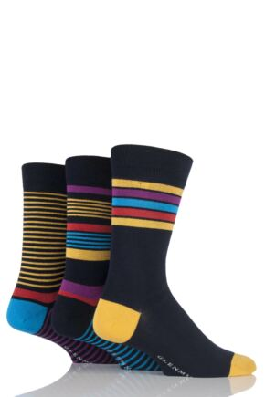 Mens 3 Pair Glenmuir Varied Striped Bamboo Socks Navy 7-11
