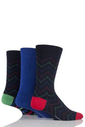 Mens 3 Pair Glenmuir Plain and Zig Zag Squared Bamboo Socks