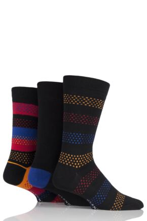 Mens 3 Pair Glenmuir Dash Stripe and Plain Bamboo Socks Black 7-11 Mens