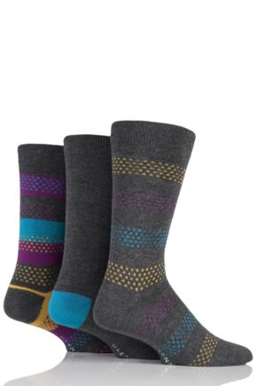 Mens 3 Pair Glenmuir Dash Stripe and Plain Bamboo Socks Charcoal 7-11 Mens