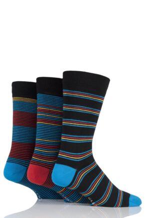 Mens 3 Pair Glenmuir Fine Stripe Bamboo Socks
