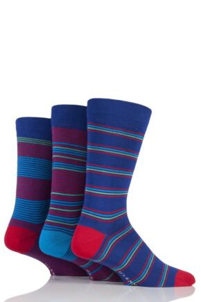 Mens 3 Pair Glenmuir Fine Stripe Bamboo Socks Blue 7-11 Mens