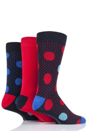 Mens 3 Pair Glenmuir Large Dot Bamboo Socks