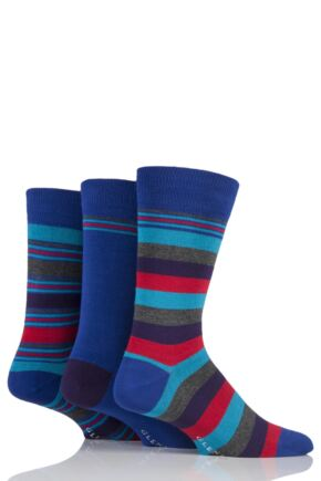 Mens 3 Pair Glenmuir Mixed Stripe and Plain Bamboo Socks Blue 7-11 Mens