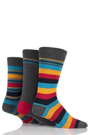 Mens 3 Pair Glenmuir Mixed Stripe and Plain Bamboo Socks Charcoal 7-11 Mens