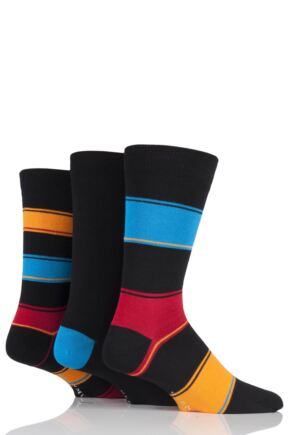 Mens 3 Pair Glenmuir Broad Stripe and Plain Bamboo Socks Black 7-11 Mens