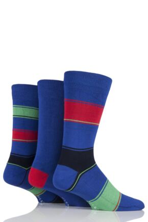 Mens 3 Pair Glenmuir Broad Stripe and Plain Bamboo Socks Blue 7-11 Mens