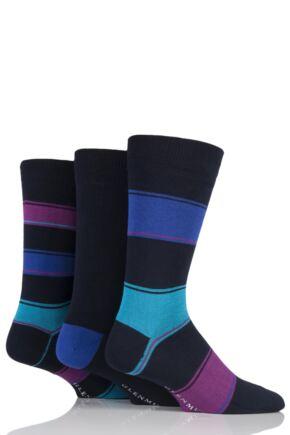 Mens 3 Pair Glenmuir Broad Stripe and Plain Bamboo Socks Navy 7-11 Mens