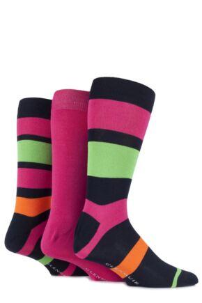 Mens 3 Pair Glenmuir Bamboo Plain and Block Striped Socks