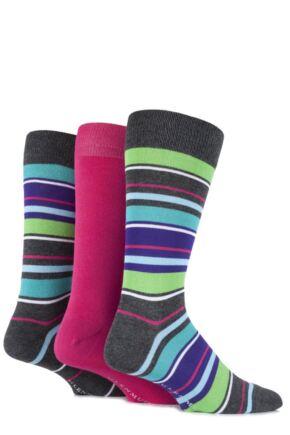 Mens 3 Pair Glenmuir Bamboo Plain and Mixed Striped Socks