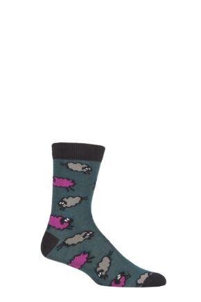 UphillSport 1 Pair Merino Wool Sheep Patterened Socks Green / Lilac 5.5-8 Unisex