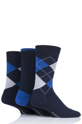 Mens 3 Pair Glenmuir Argyle Bamboo Socks Navy 6-11 Mens
