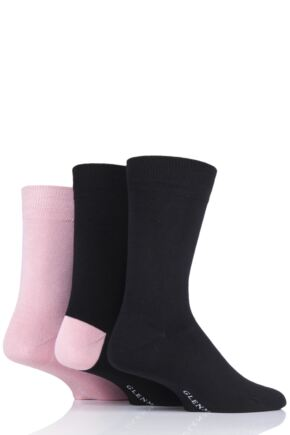 Mens 3 Pair Glenmuir Contrast Heel and Plain Bamboo Socks
