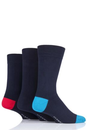 Mens 3 Pair Glenmuir Contrast Heel Navy Bamboo Socks
