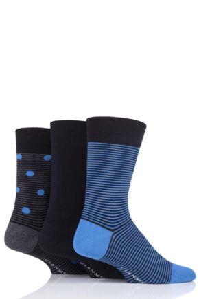 Mens 3 Pair Glenmuir Striped Black Bamboo Socks