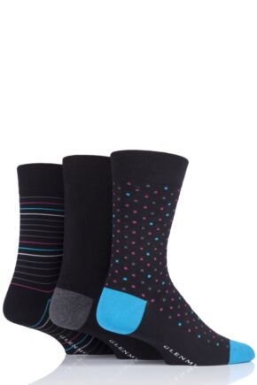 Mens 3 Pair Glenmuir Patterned Black Bamboo Socks