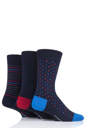 Mens 3 Pair Glenmuir Navy Patterned Bamboo Socks