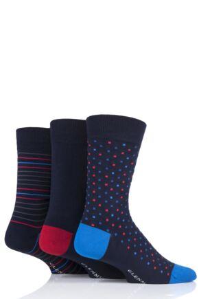 Mens 3 Pair Glenmuir Navy Patterned Bamboo Socks Navy Mix 6-11 Mens