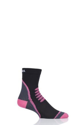 UpHill Sport 1 Pair 3 Layer Cycling Socks Black / Grey / Pink 3-5 Unisex