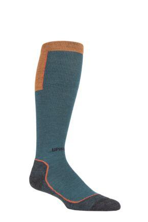 UpHillSport 1 Pair Ouna 4 Layer Merino Wool Compression Ski Socks Teal 3-5 Unisex