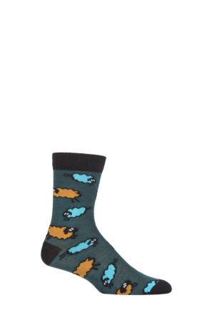 UphillSport 1 Pair Nativa Merino Wool Sheep Patterened Socks Green / Blue / Orange 8-11 Unisex