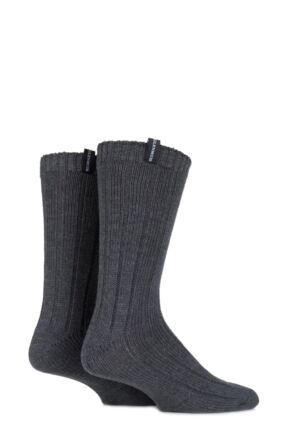 Mens 2 Pair Glenmuir Merino Wool Blend Ribbed Boot Socks