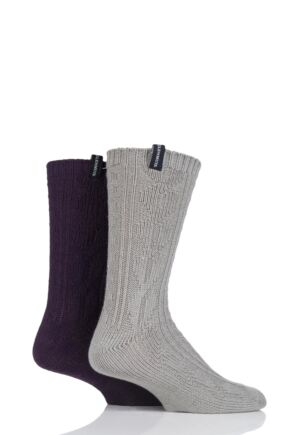 Mens 2 Pair Glenmuir Cable Knit Boot Socks