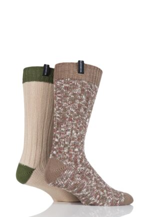 Mens 2 Pair Glenmuir Marl and Plain Boot Socks